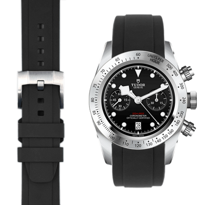 tudor black rubber strap
