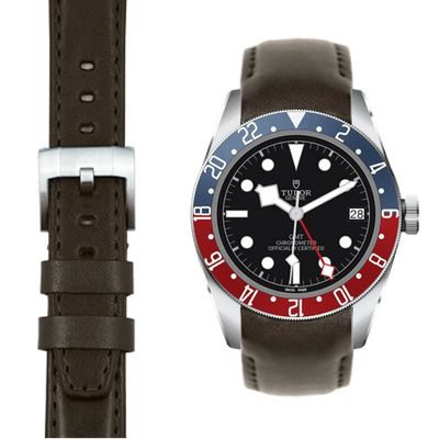 tudor black bay GMT chocolate leather watch strap