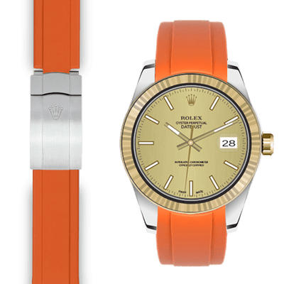 Rolex Datejust orange rubber deployant strap