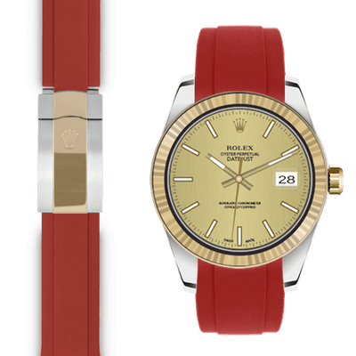 Rolex Datejust red rubber deployant strap