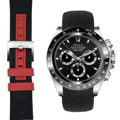 Daytona black with red nylon watch strap