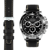 Rolex Daytona steel end link black leather watch strap