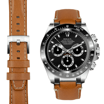 Rolex Daytona steel end link tan leather watch strap
