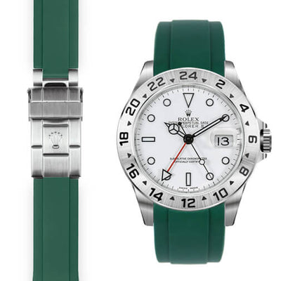 Rolex Explorer II green rubber deployant watch strap