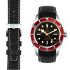 Tudor Black Bay Chronograph black leather watch strap