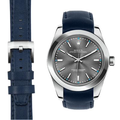 Rolex Oyster Perpetual blue leather watch strap