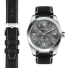 Rolex Oyster Perpetual steel end link black leather watch strap