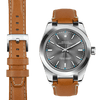 Rolex Oyster Perpetual steel end link tan leather watch strap