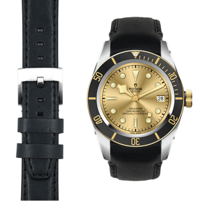 Tudor Black Bay steel black leather watch strap