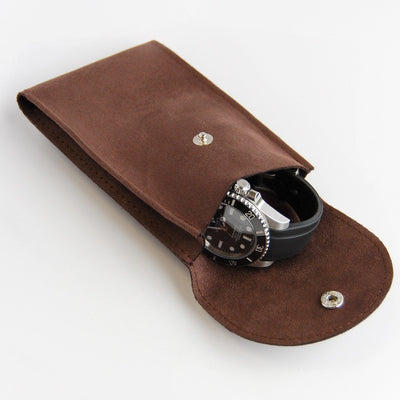 suede watch pouch