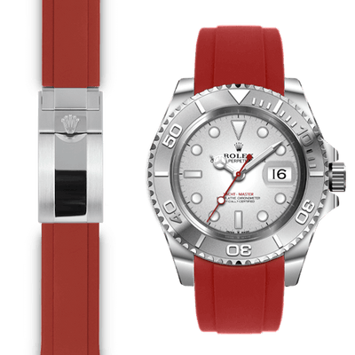 Rolex Yacht Master Red Rubber Deployant watch strap