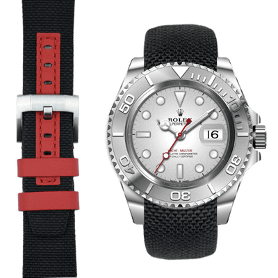 Rolex Yacht Master Black with red nylon watch strap