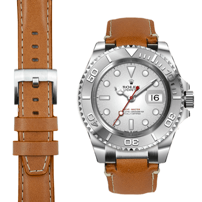 Rolex Yacht Master steel end link tan leather watch strap