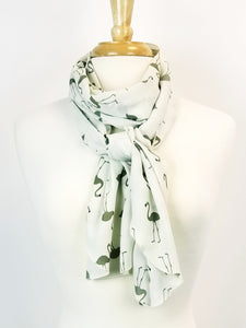 Foulard long, imprimé flamants kakis sur fond écru. - Christine Mercier atelier-boutique