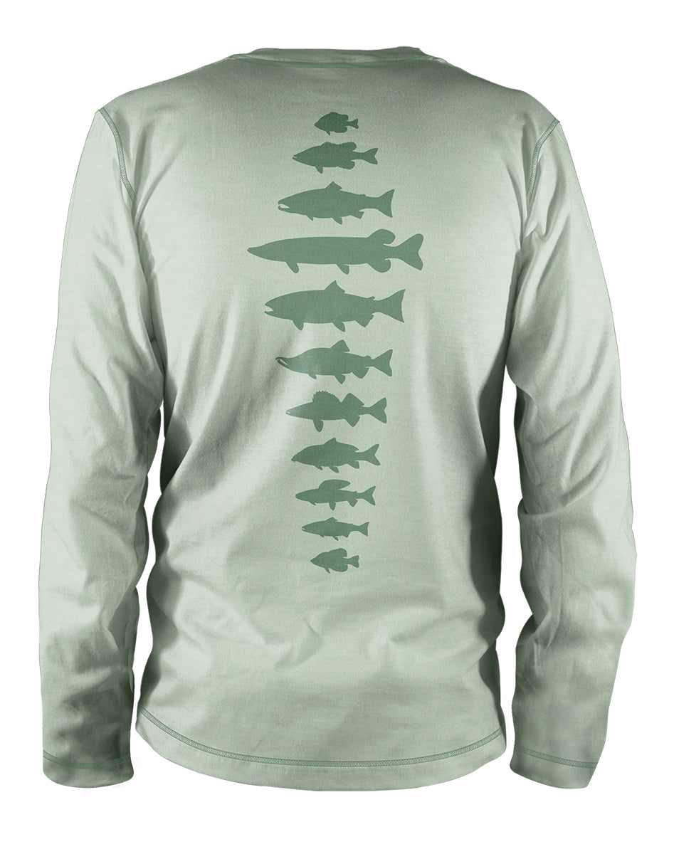 f518ad14 Freshwater Fish Spine Ultra Light Sun Shirt - Lt Sage