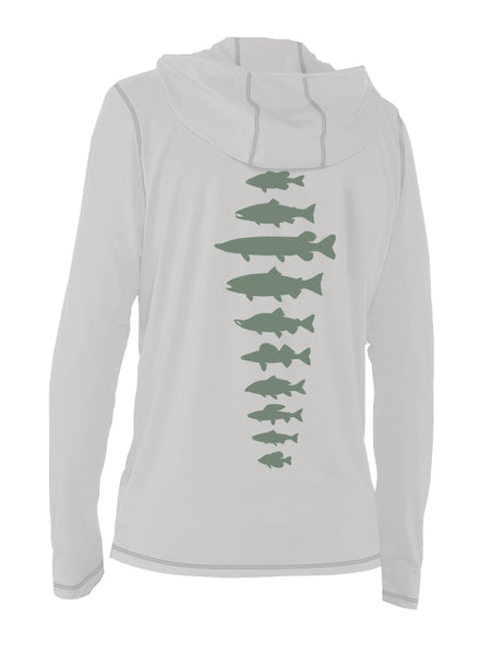 Freshwater Fish Spine Ultra Light Sun Hoody - Lt Gray