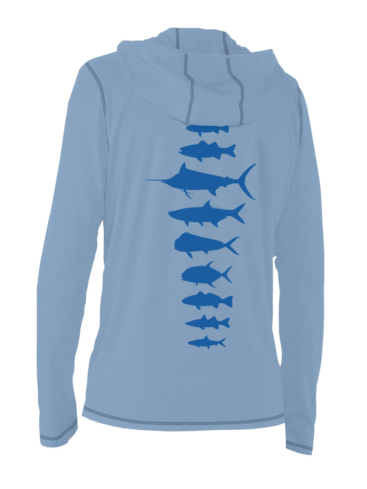 Saltwater Fish Spine Ultra Light Sun Hoody - Wild Blue