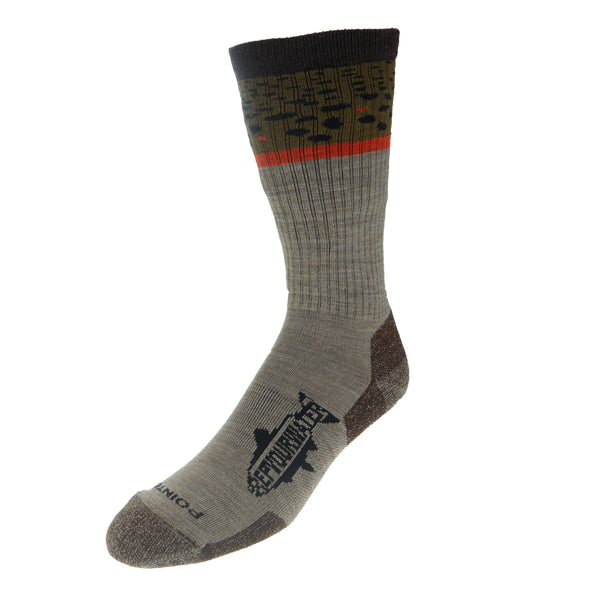 Trout Socks: Brown Trout Band - Extra Light