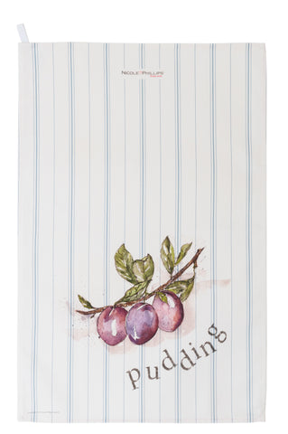 Plum Pudding tea towel