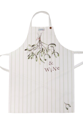 Nicole Phillips England Mistletoe and Wine Adult Size Apron