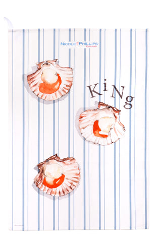 Nicole Phillips England King Scallop Tea Towel front