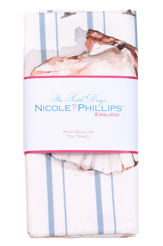 Nicole Phillips England King Scallop Tea Towel packaged
