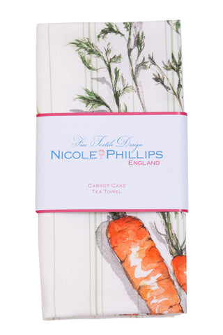 Nicole Phillips England Carrot Cake Tea Towel packaged