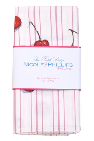 Nicole Phillips England Cherry Bakewell Tea Towel packaged