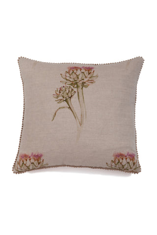 Nicole Phillips England Flowering Artichoke large square linen cushion