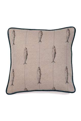 Nicole Phillips England Fish on a Line large square linen cushion