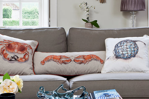 Nicole Phillip England Kissing Lobsters Long Rectangle Cushion Linen front