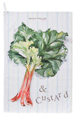 Nicole Phillips England Rhubarb and Custard Tea Towel / dish cloth