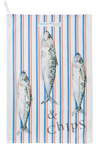 Nicole Phillips England Three Fish and Chips orange and blue stripe Tea Towel