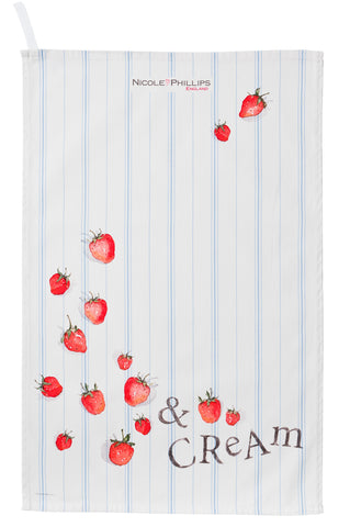 Nicole Phillips England Strawberries And Cream Tea Towel