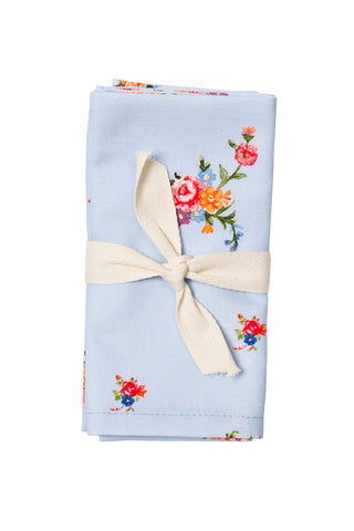 Nicole Phillips England Blue Scattered Roses Napkins (set of 4) wrapped