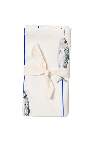 Nicole Phillips England Fish On A Line Napkins (set of 4) packaged