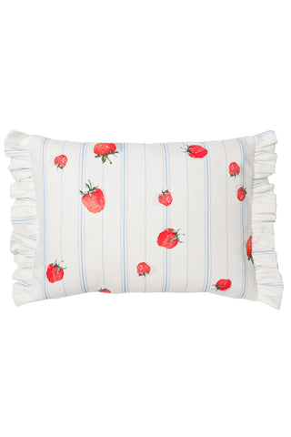 Nicole Phillips England Strawberries Rectangle Cushion with Frill
