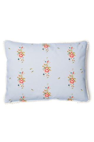 Nicole Phillips England Blue Trailing Roses Rectangle Cushion