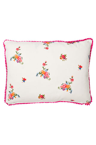 Nicole Phillips England Stone Scattered Roses Rectangle Cushion