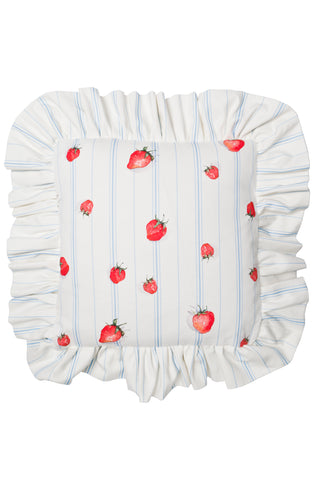 Nicole Phillips England Strawberries Square Cushion With Large Frill