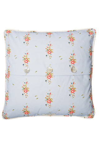 Nicole Phillips England Blue Trailing Roses Large Square Cushion reverse