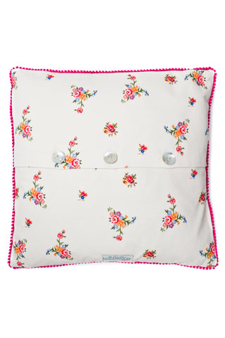 Nicole Phillips England Stone Scattered Roses Large Square Cushion back
