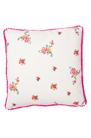 Nicole Phillips England Stone Scattered Roses Square Cushion