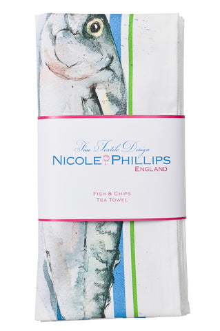 Nicole Phillips England Three Fish and Chips green and blue stripe Tea Towel