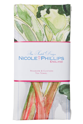 Nicole Phillips England Rhubarb and Custard Tea Towel / dish cloth packaged