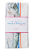 Nicole Phillips England Three Fish and Chips orange and blue stripe Tea Towel packaged