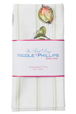 Nicole Phillips England Gooseberry Fool Tea Towel / Dish Cloth packaged