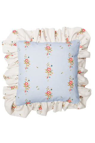 Nicole Phillips England Blue Trailing Roses Square Cushion with Large Frill