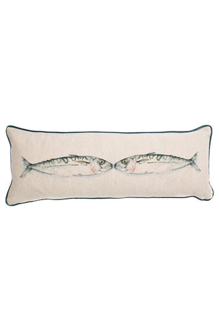 Nicole Phillips England Kissing Mackerel Long Rectangle Cushion Linen