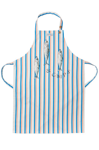Nicole Phillips England Three Fish and Chips orange and blue stripe Apron